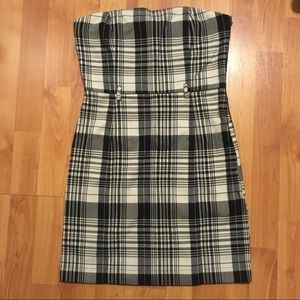 Forever 21 Strapless Black and Beige Plaid Dress